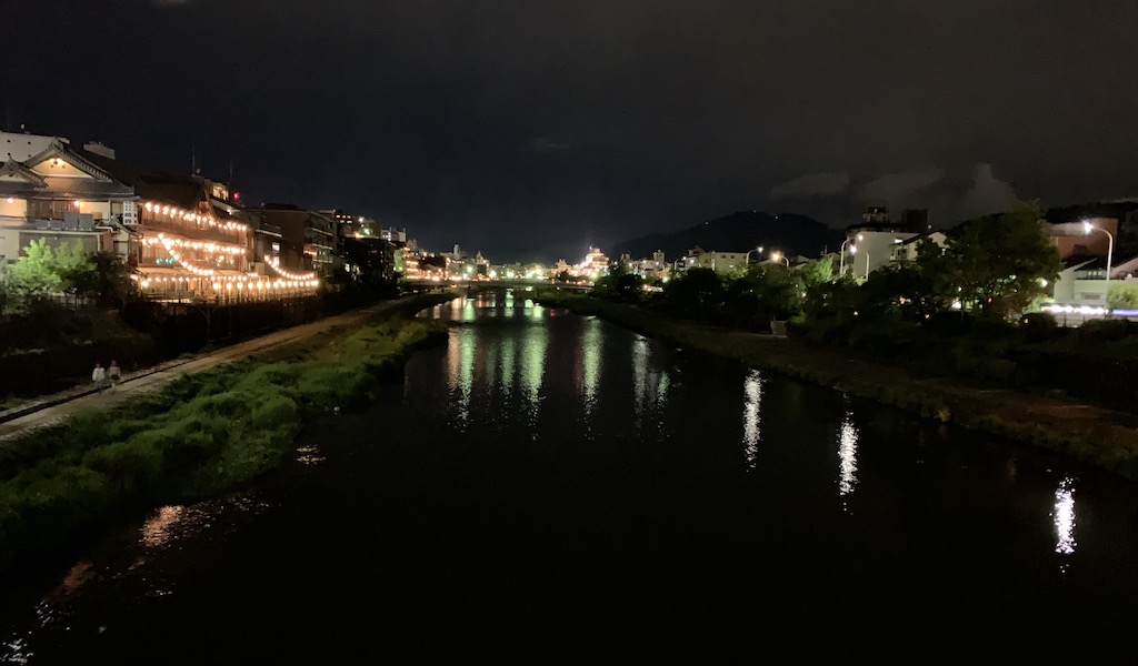 Kamogawa river in Kyoto at night