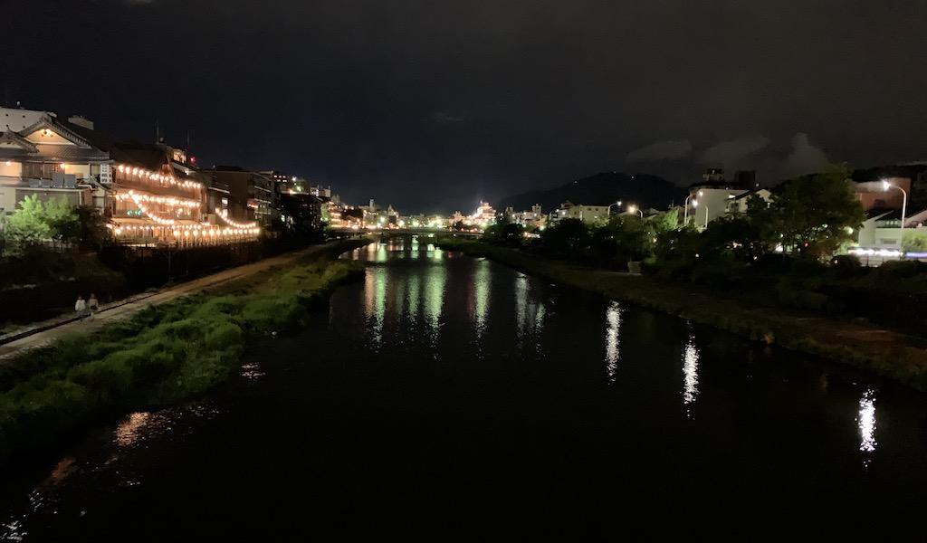 Kamogawa river in Kyoto at night